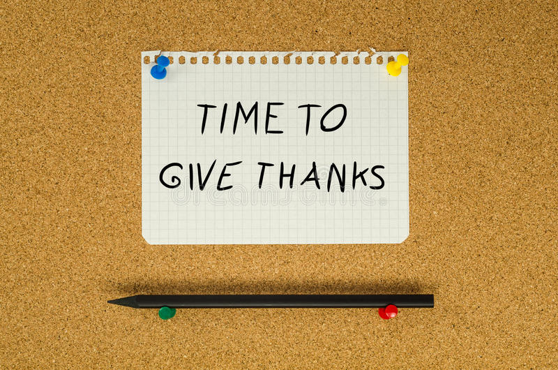 Time to give thanks. Text note message pin on bulletin board royalty free stock images