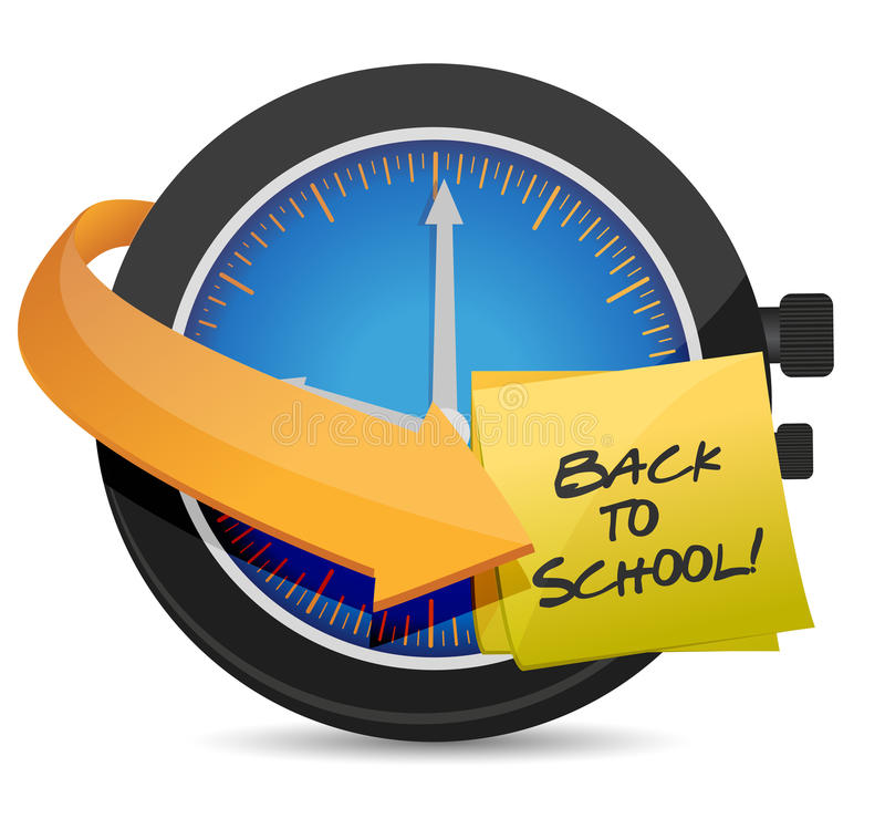 Time to go Back to school post an clock stock illustration