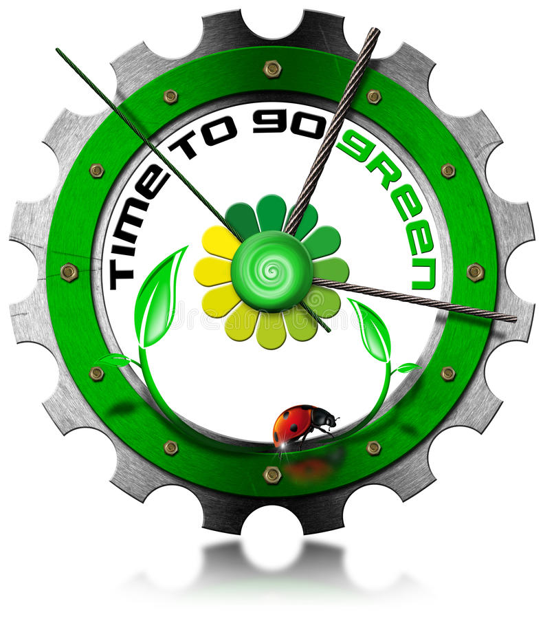 Time to Go Green - Metallic Gear royalty free illustration