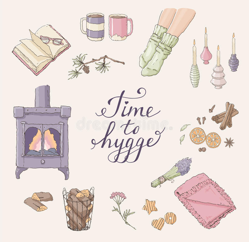 Time to Hygge. Cozy home things. Handdrawn card. Vector set of hand drawn illustrations with Time to Hygge lettering and cozy home things like candles, socks royalty free illustration
