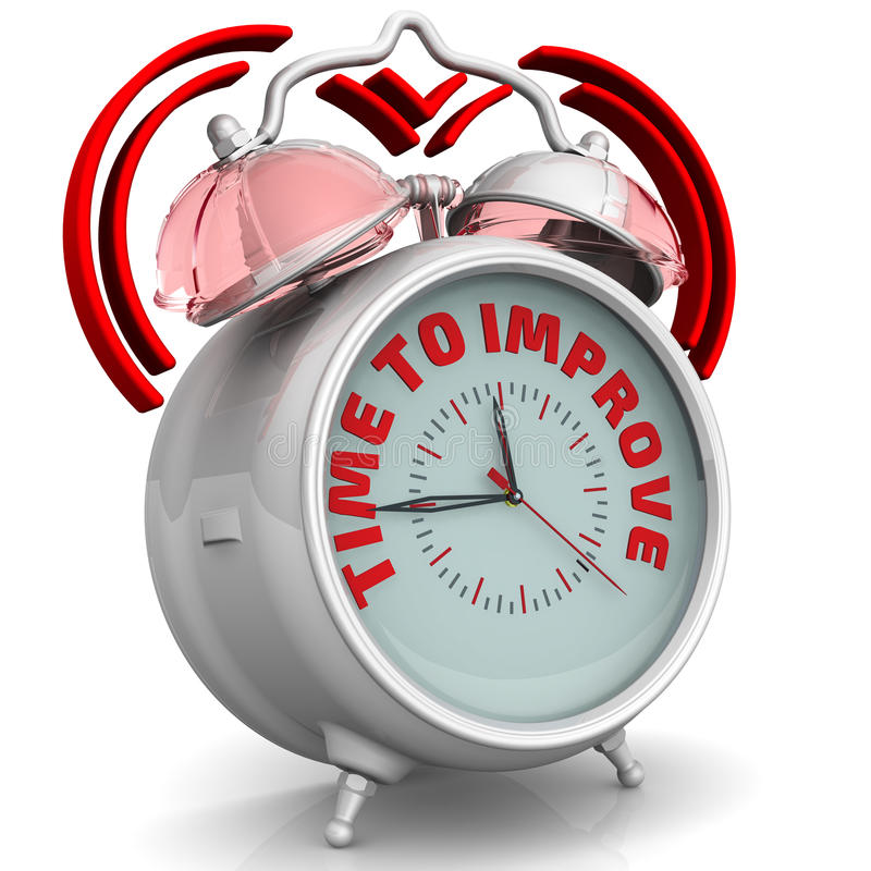 Time to improve. The alarm clock with an inscription stock illustration