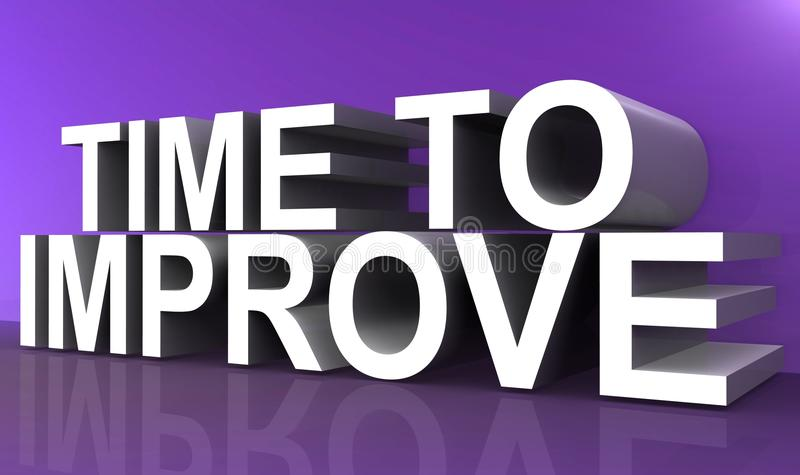 Time to improve. Text 'time to improve' in large white and gray 3D uppercase letters on a purple background vector illustration