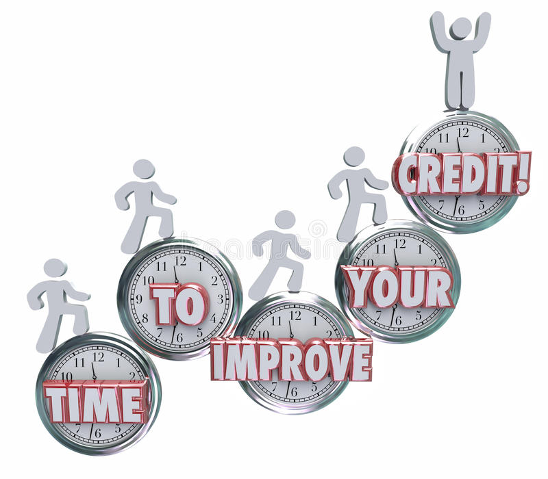 Time to Improve Your Credit Borrowers Rising on Clocks Better Sc royalty free illustration