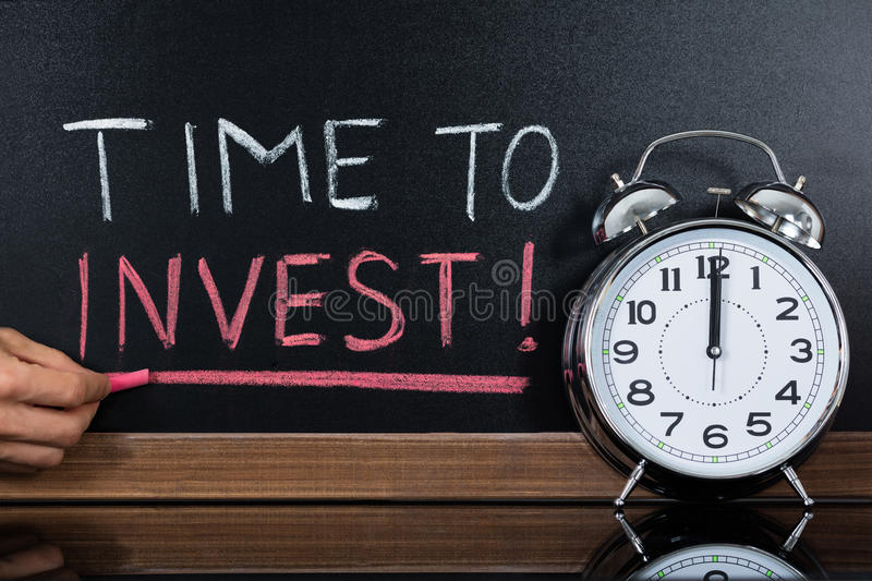 Time To Invest Concept Written On Blackboard stock images