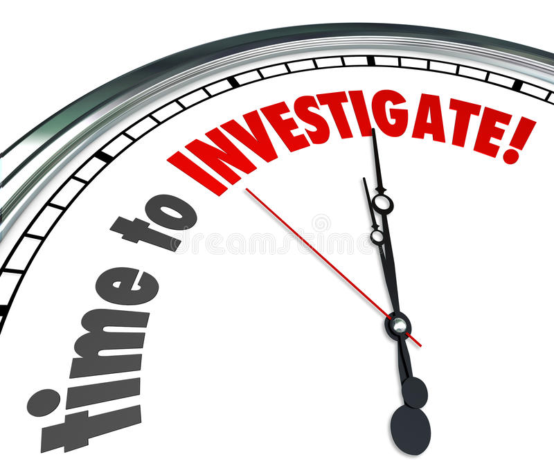 Time to Investigate Words on Clock Look Research Answers. Time to Investigate words on a white clock face as reminder that now is the point to look for answers vector illustration
