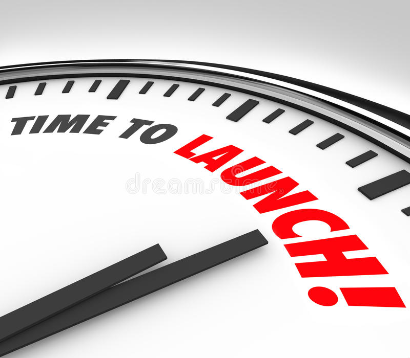 Time to Launch Clock Deadline Countdown New Business Product Com vector illustration
