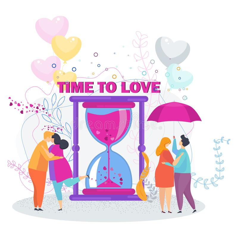 Time to love. Couple in love on a date. royalty free illustration