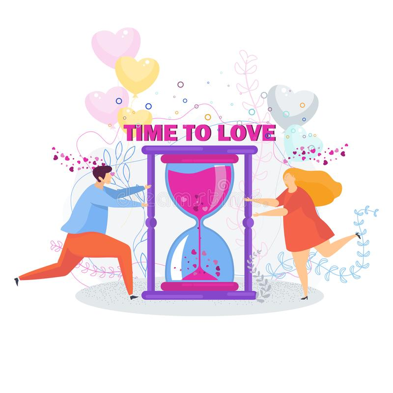 Time to love. Loving couple girl and boy. vector illustration
