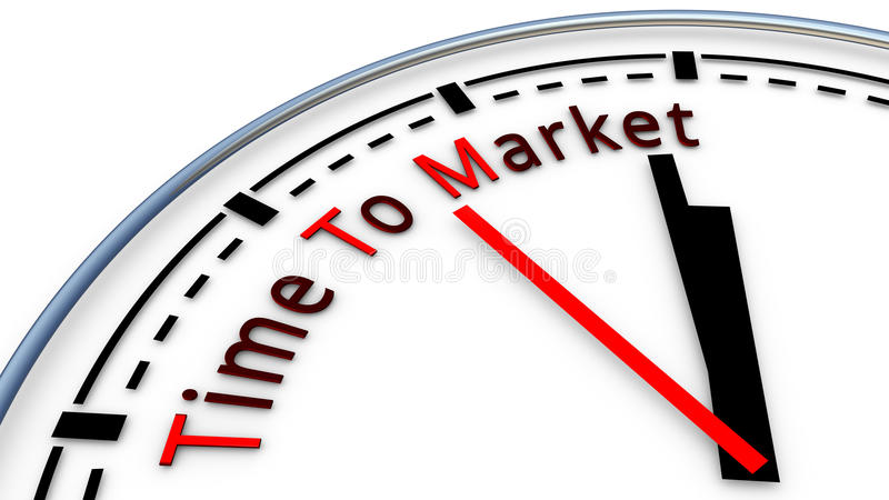 Time To Market clock concept vector illustration