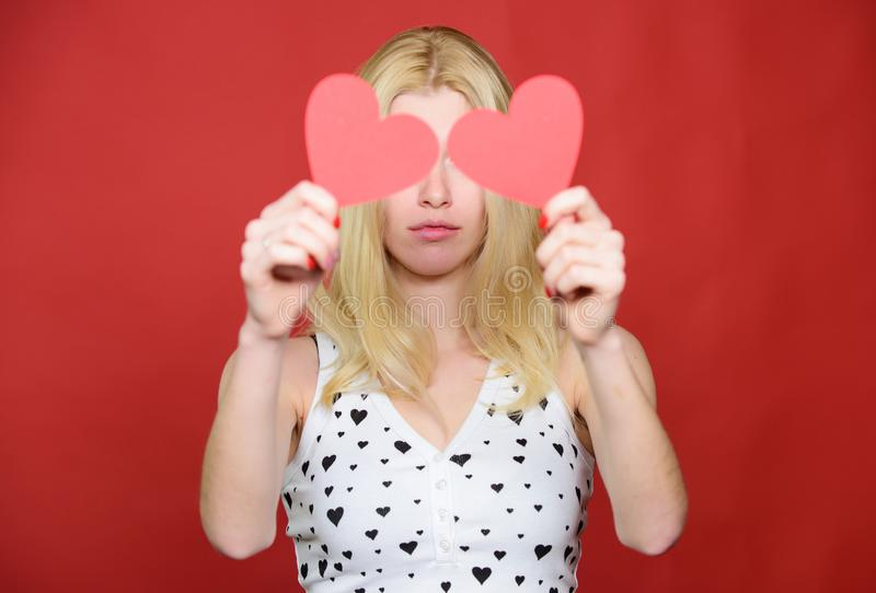 Time to open your eyes. Love and romance. sad woman on red background. woman with decorative heart. Date. Valentines day. Party. Romantic greeting. Valentines stock photos