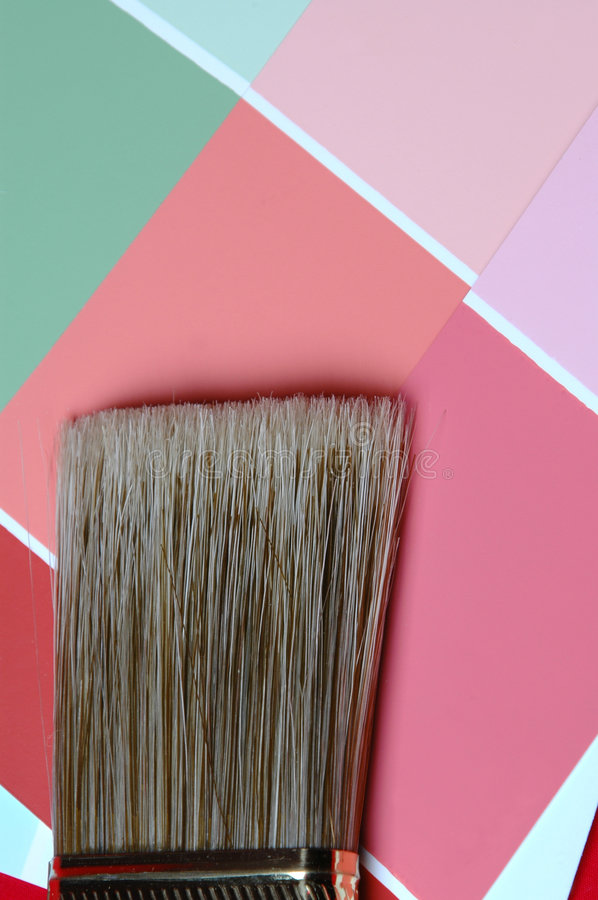 Time to paint. Brush and color swatches stock image