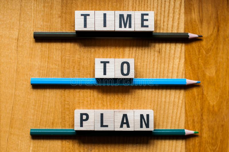 Time to plan words concept stock images