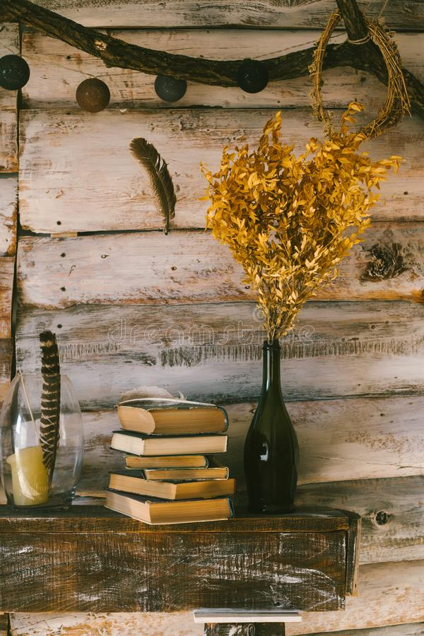 time to read books. books and candles on the table. wooden background. vintage. stock images