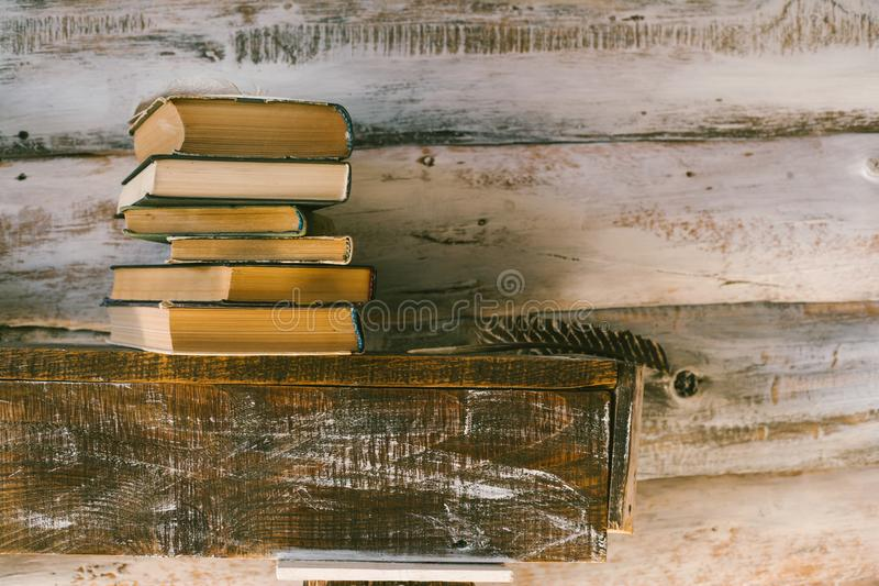 Time to read books. books on the table. wooden background royalty free stock photos