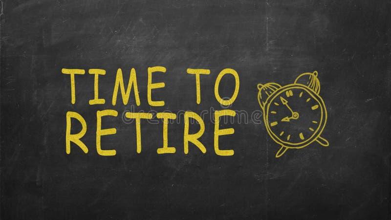 Time to retire on blackboard. retirement saving concept on blackboard royalty free illustration