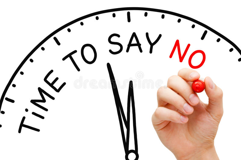Time To Say No Clock Concept. Hand writing Time To Say No on a clock with marker on transparent wipe board stock photography