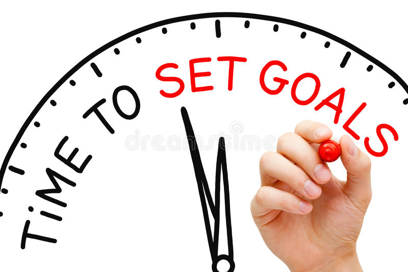 Time to Set Goals. Hand writing Time to Set Goals concept with red marker on transparent wipe board royalty free stock photos