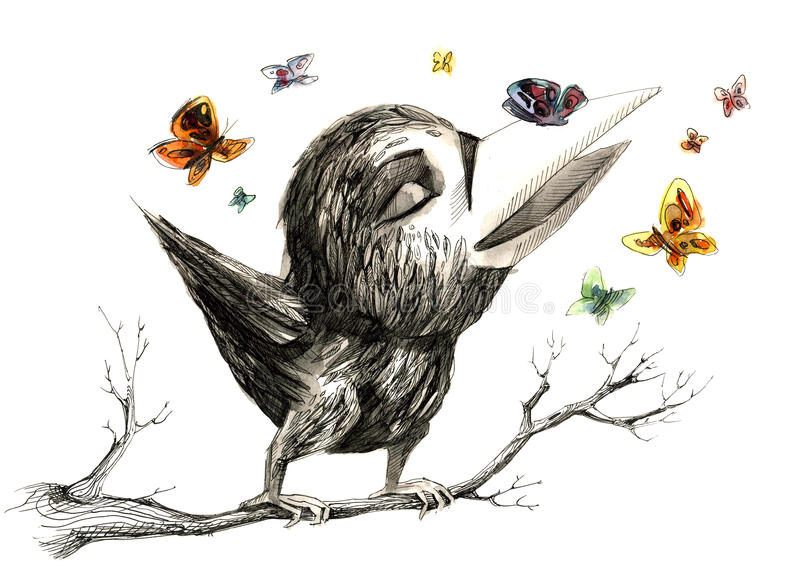 Time to sing. Spring song of the chick crows vector illustration