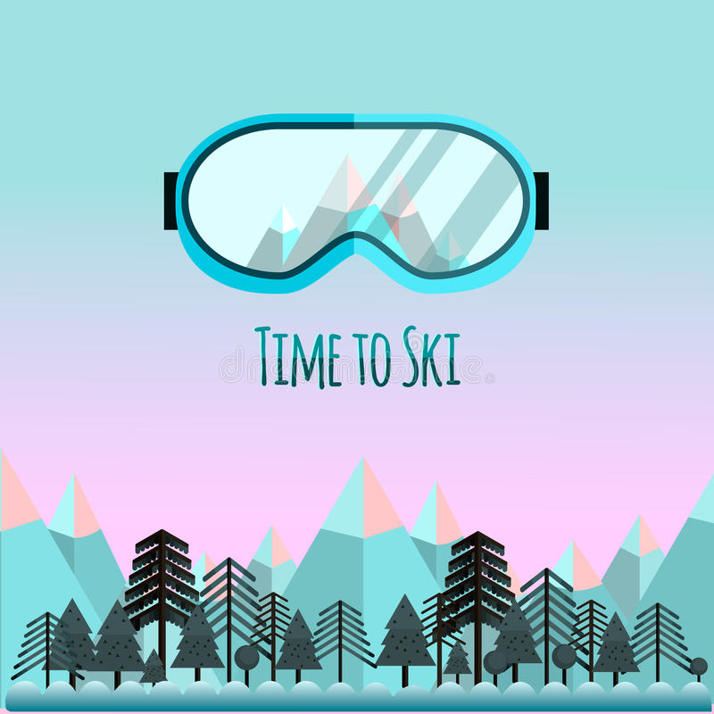 Free Time To Ski. Sunglass With Reflection Of Mountains. Royalty Free Stock Photography - 83988587