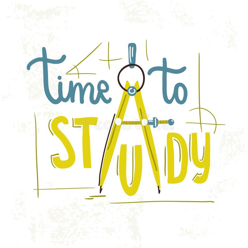 Time to study. Vector illustration. Poster Old paper. Vintage royalty free illustration
