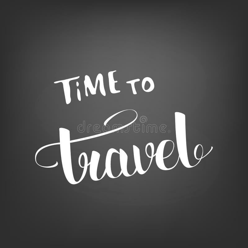 Time to travel banner with handwritten lettering. Vector illustration. stock illustration