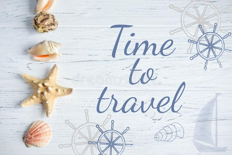 Time to travel. Banner with an inscription on the marine theme. Seashell, Steering and Ship Banner stock images