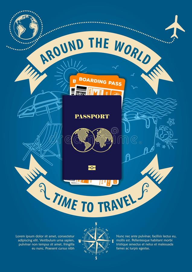 Time to travel banner or poster with passport and boarding passes tickets. Concept for travel and vacations. Vector illustration stock illustration