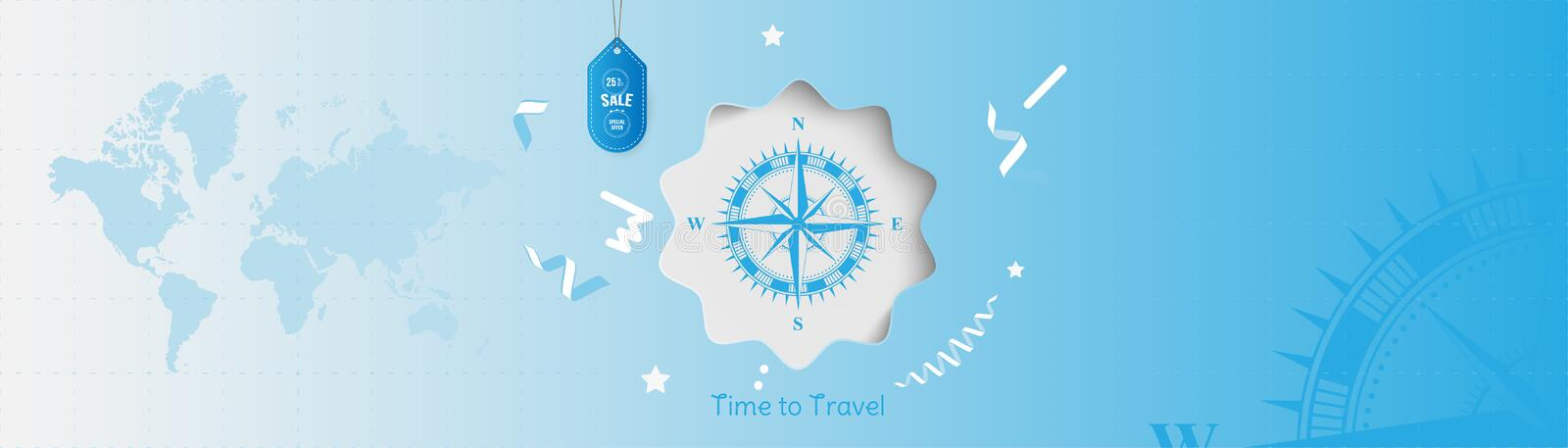 Time to Travel. Banner with Sale and special offer 25 on tourism. Concept with vintage compass and world map on an blue royalty free illustration