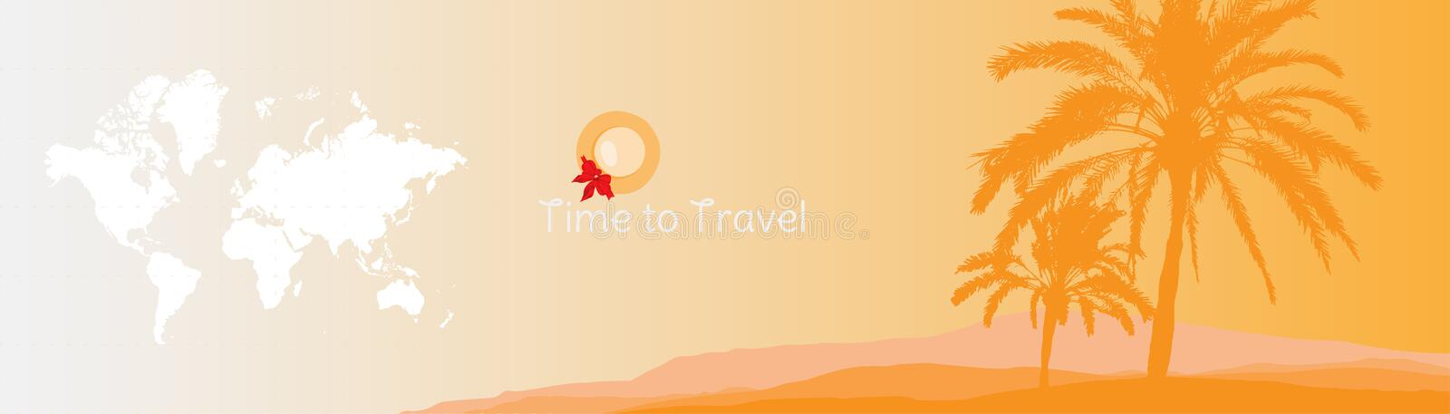 Time to Travel. Banner with silhouettes of tropical palm trees and world map on a orange background for tourism. vector illustration