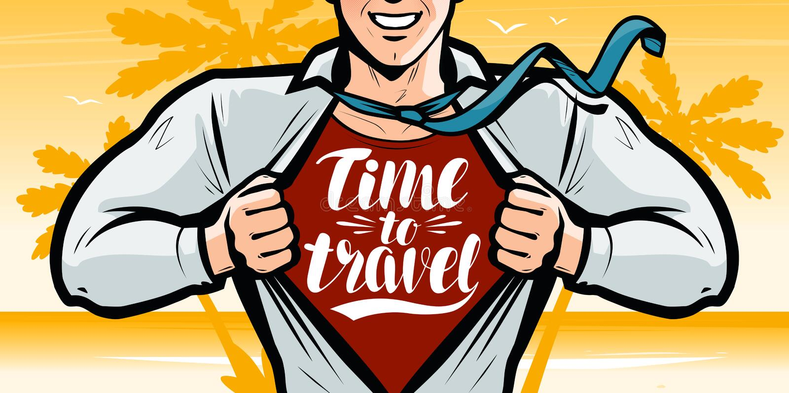 Time to travel, banner. Vacation, journey concept. Vector illustration in style comic pop art royalty free illustration