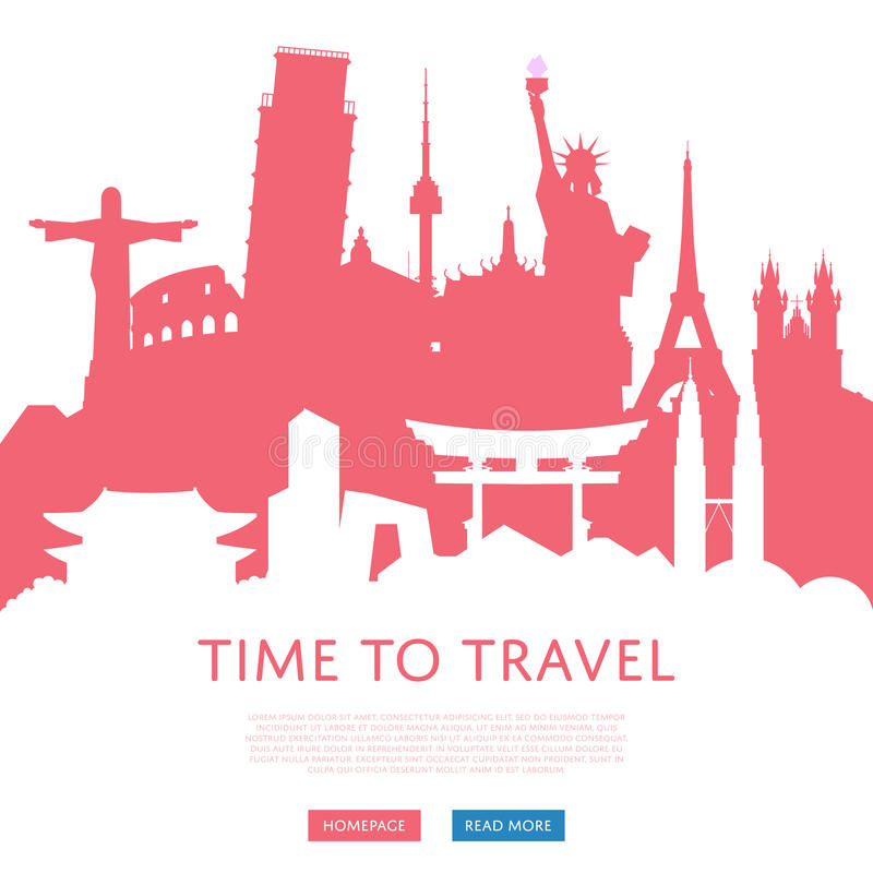 Time to travel concept with cityscape silhouettes royalty free illustration