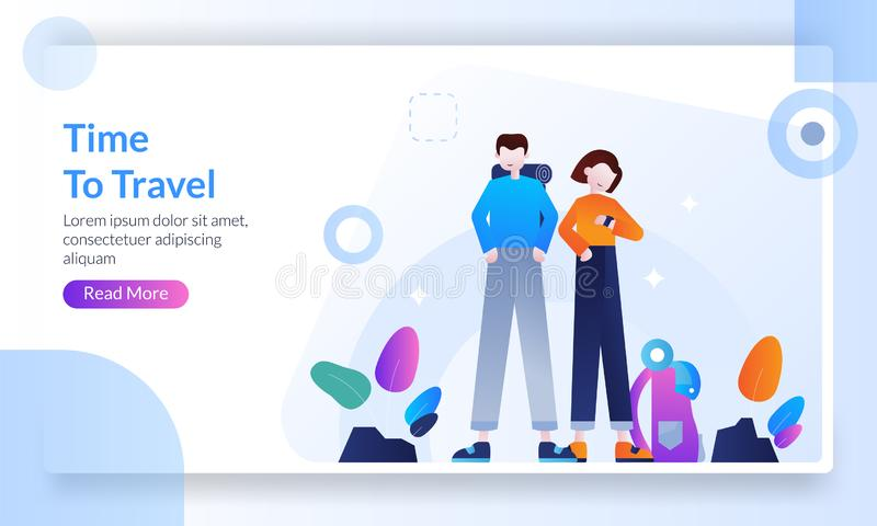 Time to travel concept, trip to world, man tourists traveling with friend or family going on vacation banner, landing page royalty free illustration