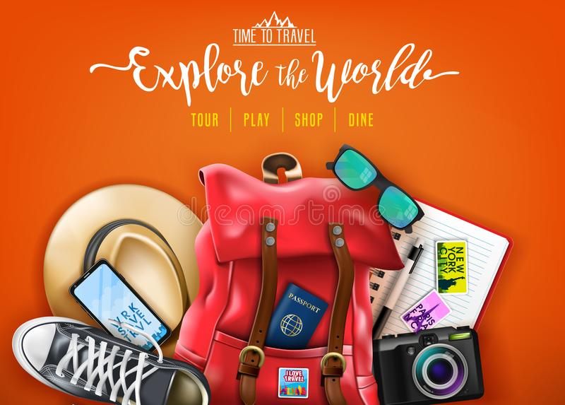 Time To Travel Explore The World Text with Red Backpack, Hat, Sunglasses, Shoes, Phone, Camera and Passport. In Orange Background Banner. Vector Illustration stock illustration