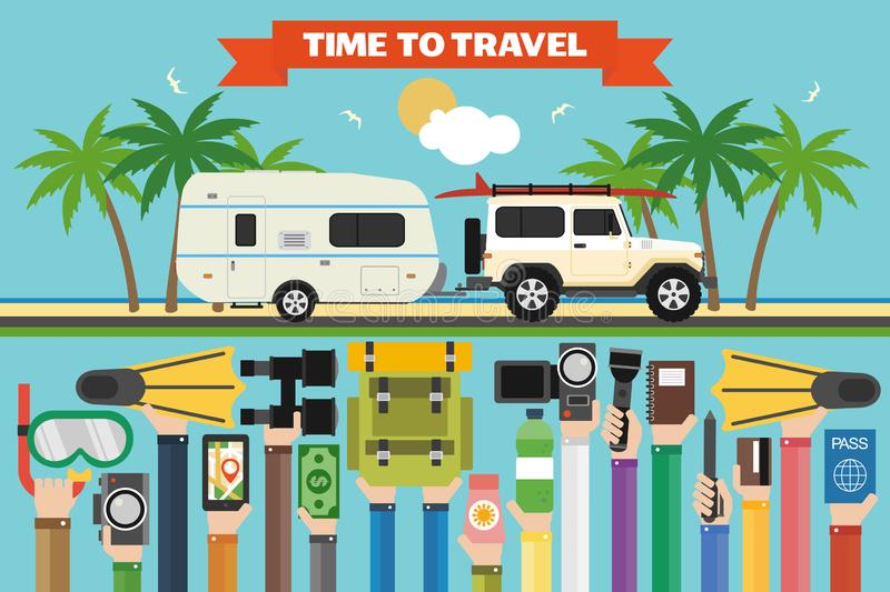Time to travel flat design with jeep, boat trailer. Summer holiday. Time to travel flat design with SUV, camping trailer. Summer holiday.Vector illustration royalty free illustration