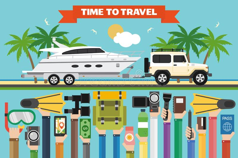 Time to travel flat design with jeep, boat trailer. Summer holiday. Time to travel flat design with SUV, boat trailer. Summer holiday.Vector illustration stock illustration