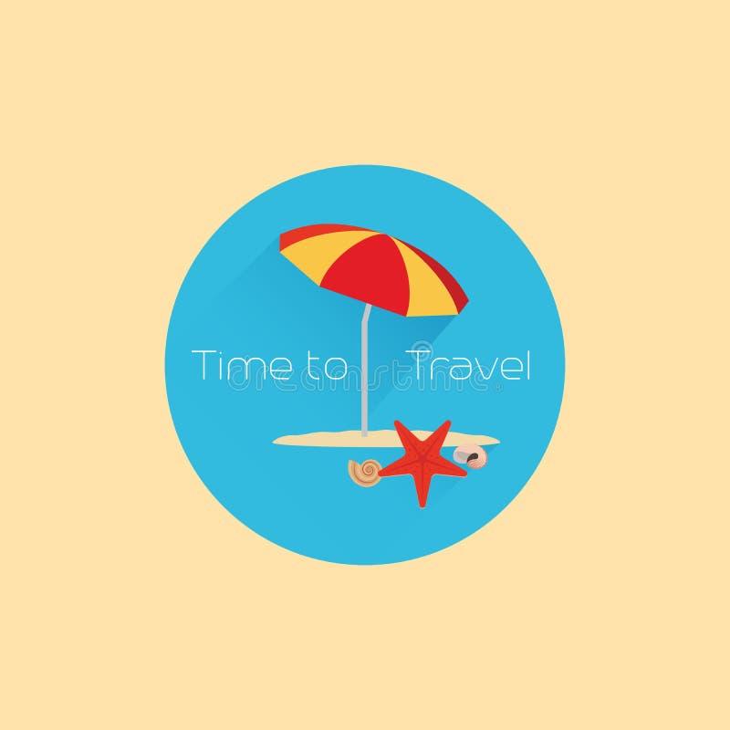 Time to travel icon with umbrella stock illustration