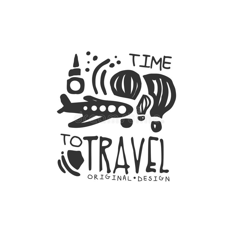 Time to travel logo with plane and air balloon stock illustration