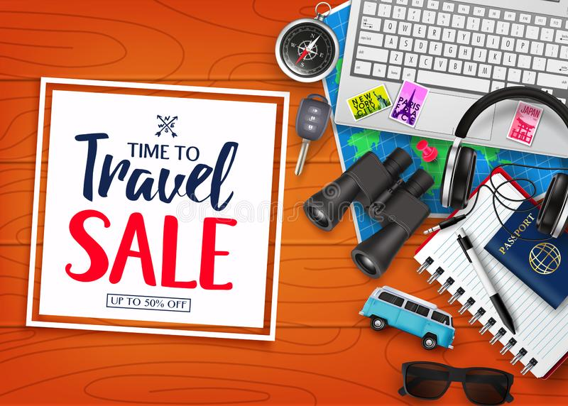 Time To Travel Sale in Square with Frame White Space for Text in Top of Wood Plank Table with Realistic royalty free illustration