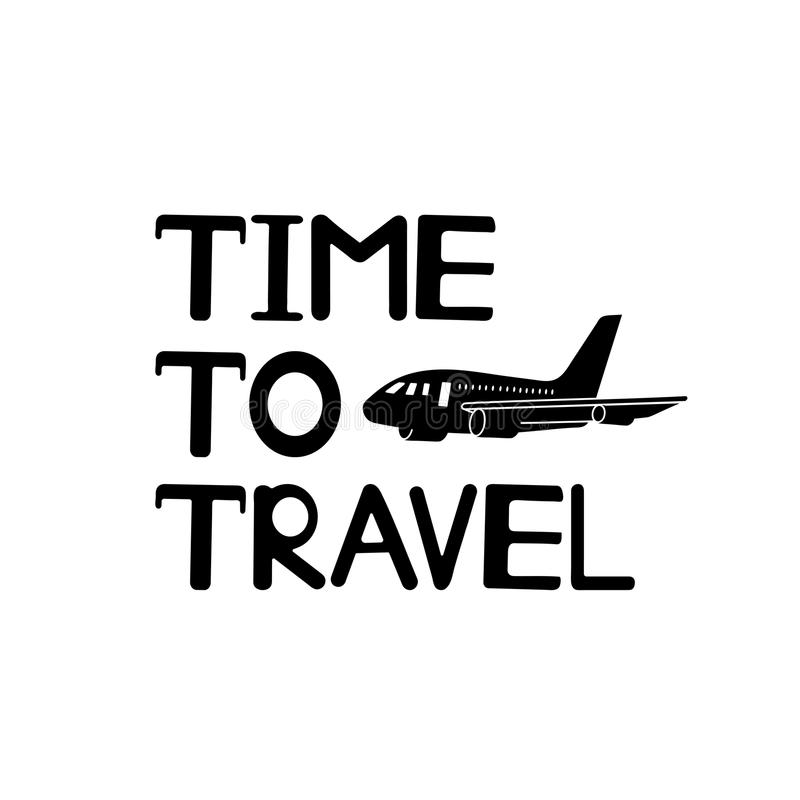 Time to travel text and black plane icon. stock illustration