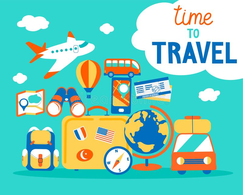 Time to travel. stock illustration