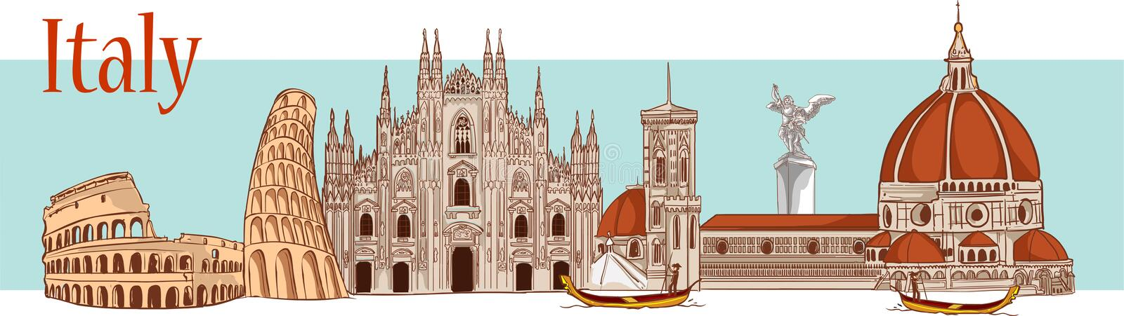 Time to travel. Tourism in Italy. Flat design, vector illustration royalty free illustration
