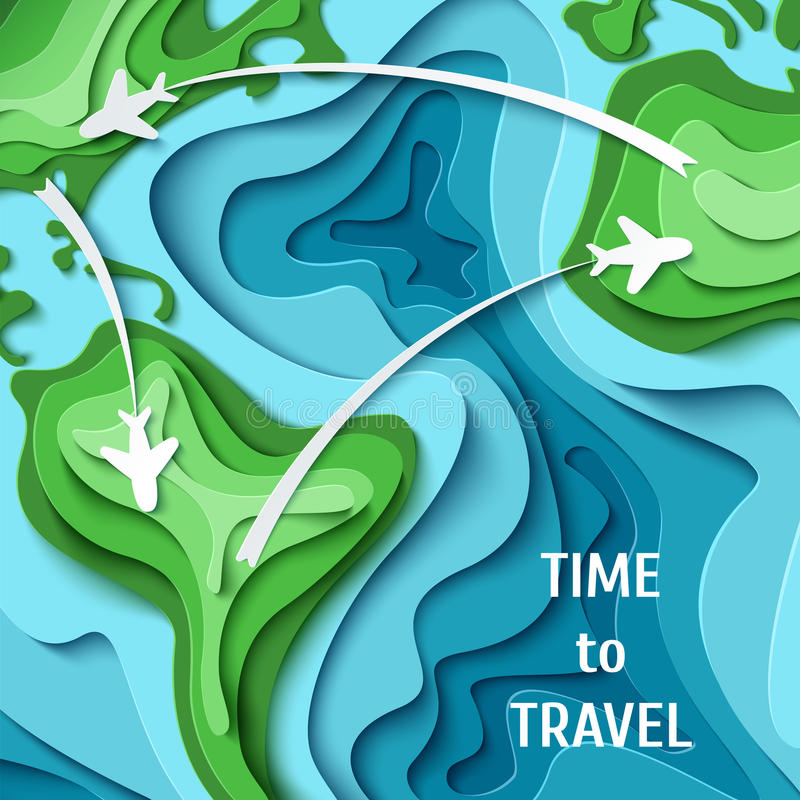 Time to travel- travel concept background. Paper planes flying across world map. Around the World - travel concept. 3d paper cut tourism design. Time to travel