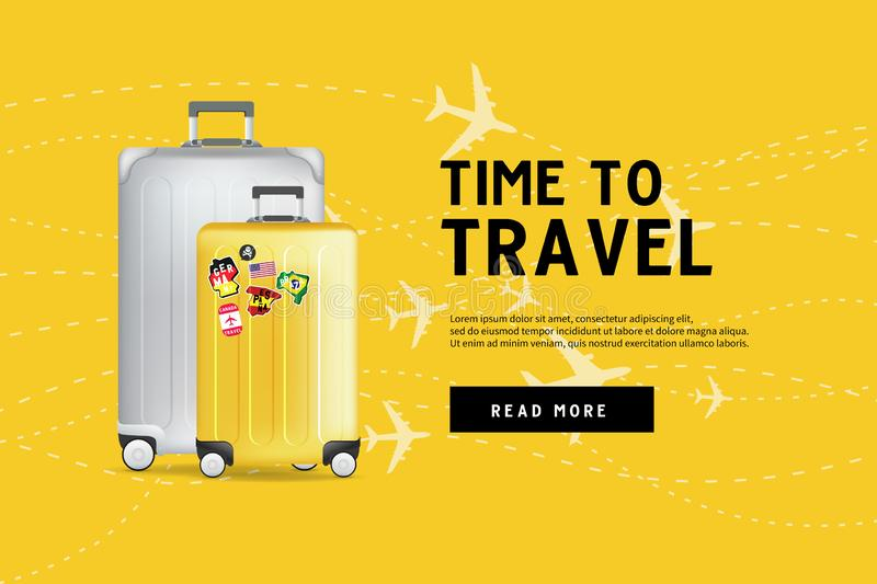 Time to travel. Traveling luggage bag banner template. Travel and tourism concept. royalty free illustration