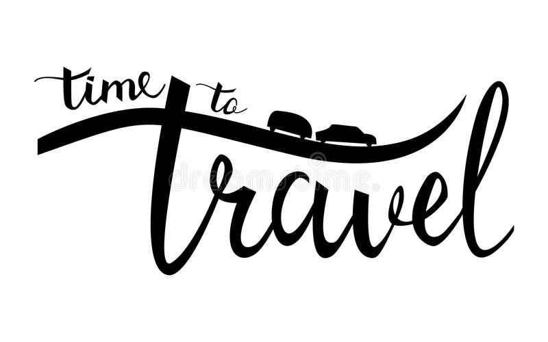 Time to travel typographic inspirational poster. Linear camping logo. stock illustration