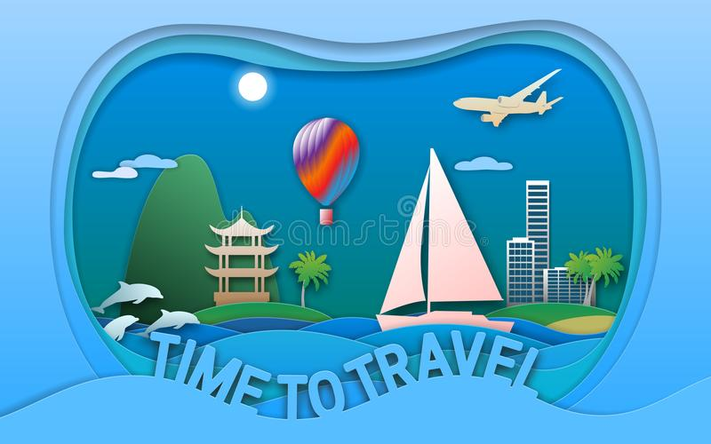 Time to travel vector illustration in paper cut style. Sea resort town, sailing yacht, pagoda, balloon, islands, dolphins. Time to travel vector illustration in royalty free illustration