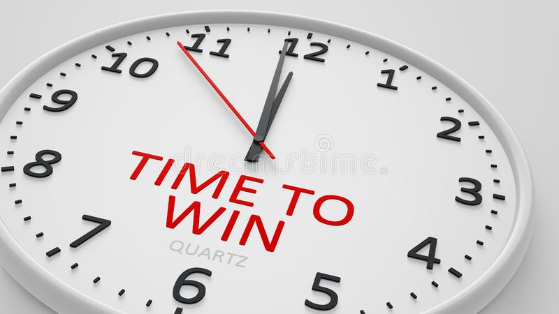 Time to win clock text modern bright style. 3d illustration royalty free illustration