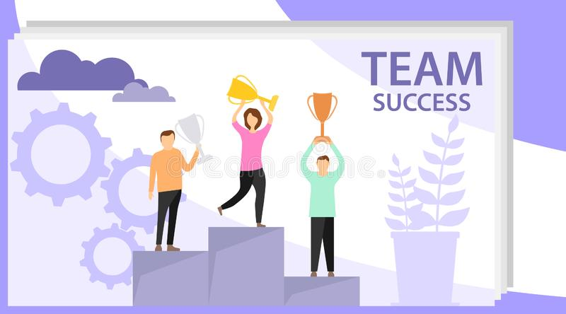 Time to win. Mini people stand on the victory pedestal and hold trophies. Flat winner concept vector stock image