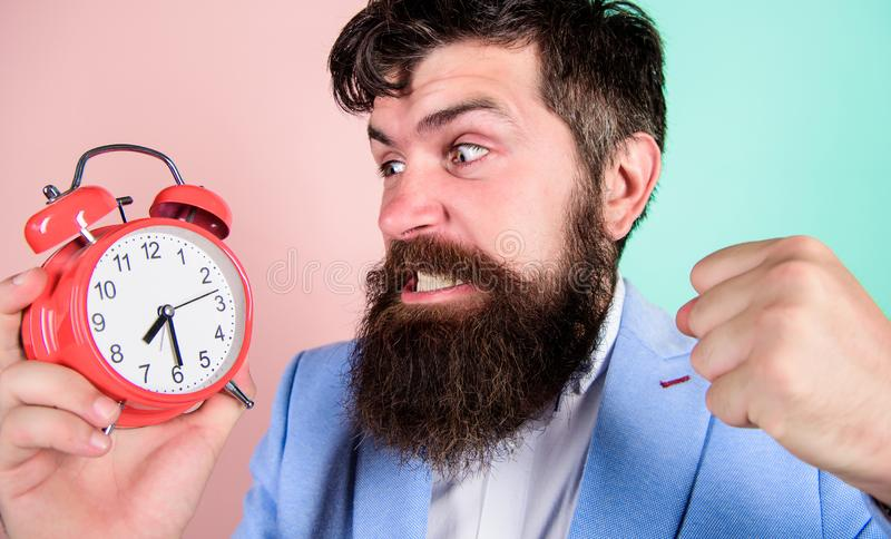 Time to work. Man bearded aggressive businessman hold clock. Stress concept. Hipster stressful working schedule. Businessman has lack of time. Time management stock photo