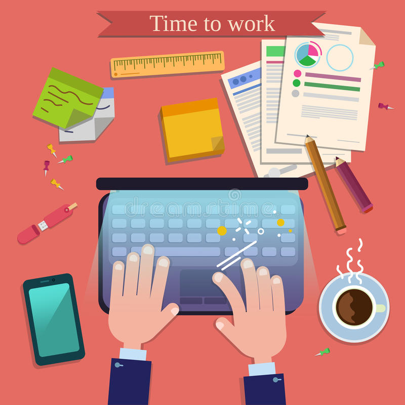 Time to Work. Modern Workplace Top View royalty free illustration