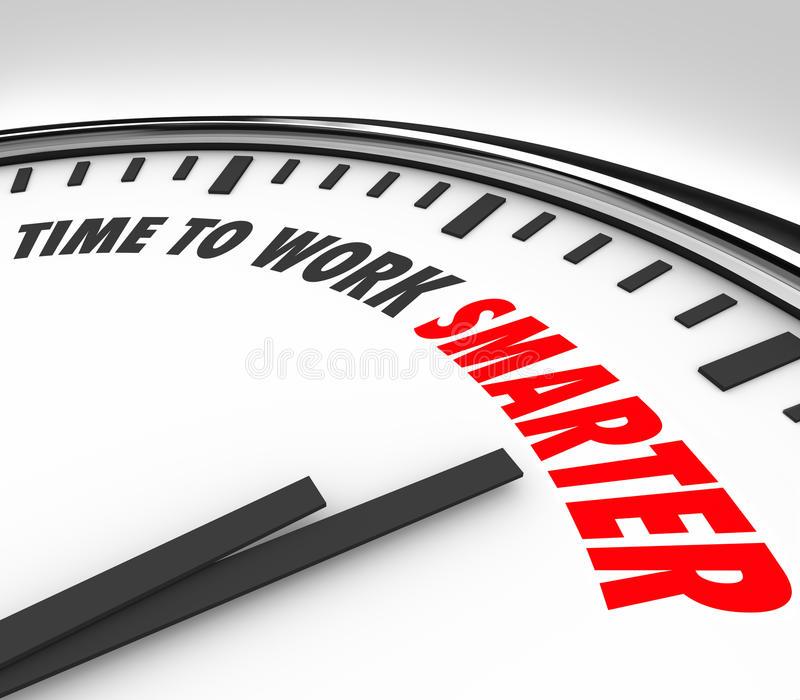 Time to Work Smarter Clock Productivity Efficiency Advice. Time to Work Smarter words on a clock face to illustrate the need or advice to increase productivity stock illustration